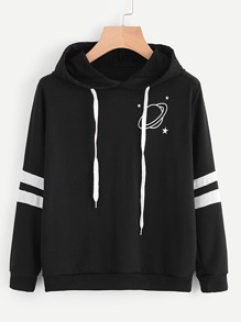 Planet Print Varsity-Striped Hoodie