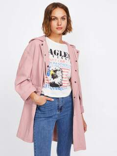 Drop Shoulder Flap Pocket Denim Hoodie Coat