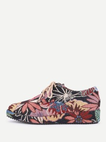 Lace Up Jacquard Sneakers