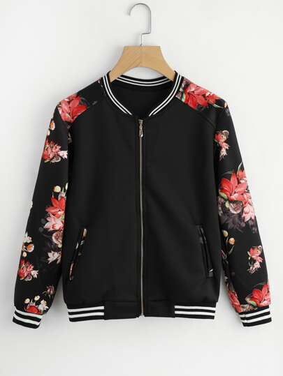 Floral Raglan Sleeve Stripe Trim Jacket