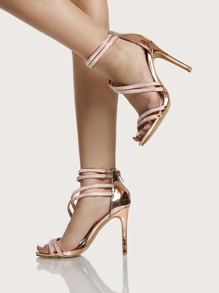 Strappy Glitter Ankle Heels ROSE GOLD