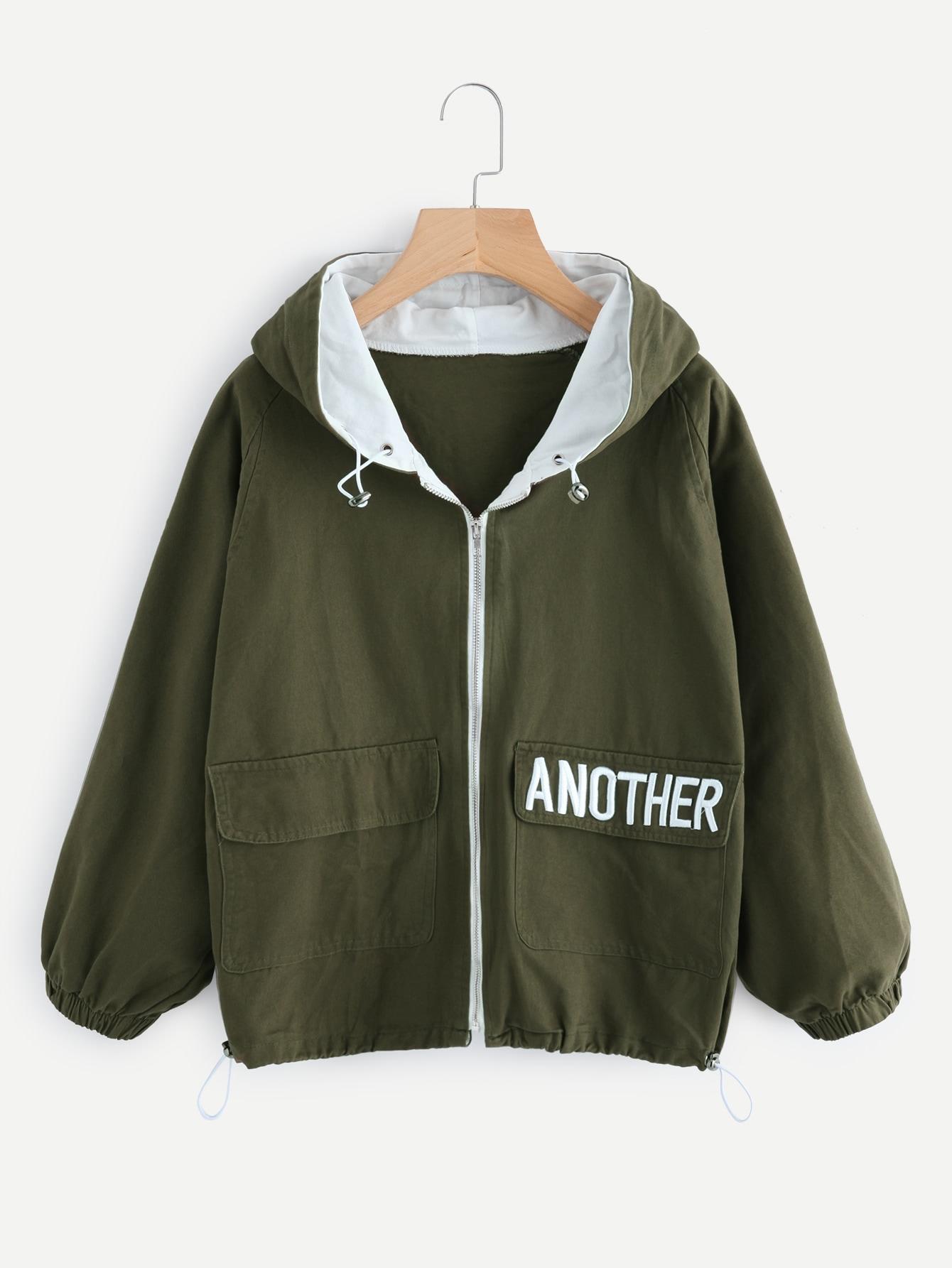 Hooded Letter Embroidered Drawstring Hem Jacket tree print drawstring hem hooded blouse