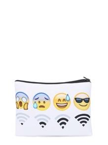 Estuche de maquillaje con emoji