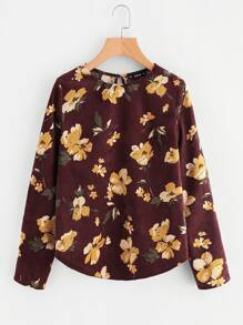 Buttoned Keyhole Back Floral Cord Top