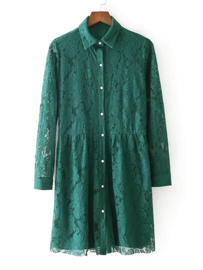Button Up Lace Shirt Dress