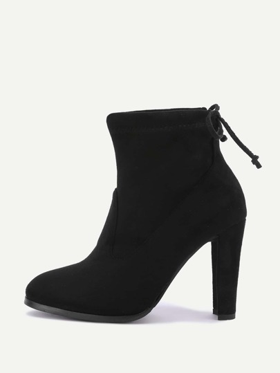 Drawstring Block Heeled Ankle Boots