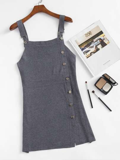 Single Breasted Pinafore Dress
