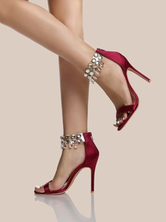Diamond PVC Ankle Strap Heels WINE