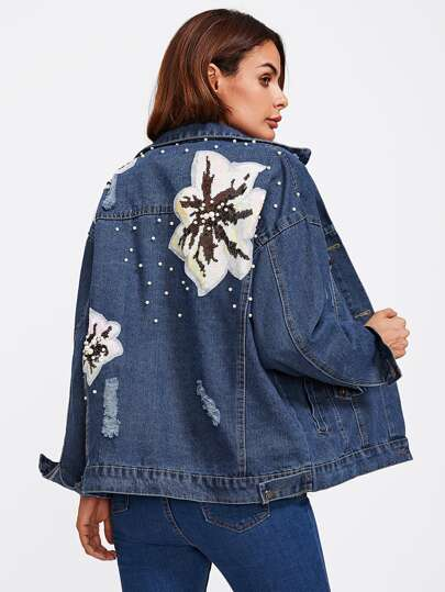 Sequin Appliques Pearl Detail Ripped Denim Jacket