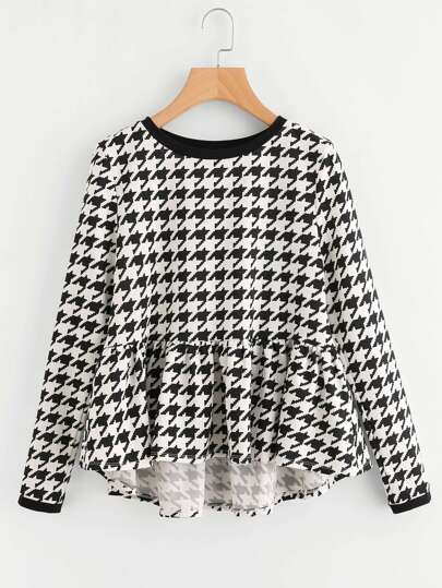 Frilled Dip Hem Houndstooth Top