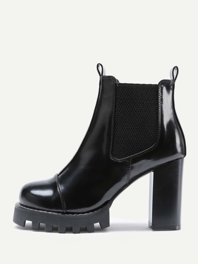 Round Toe Block Heeled Faux Leather Boots
