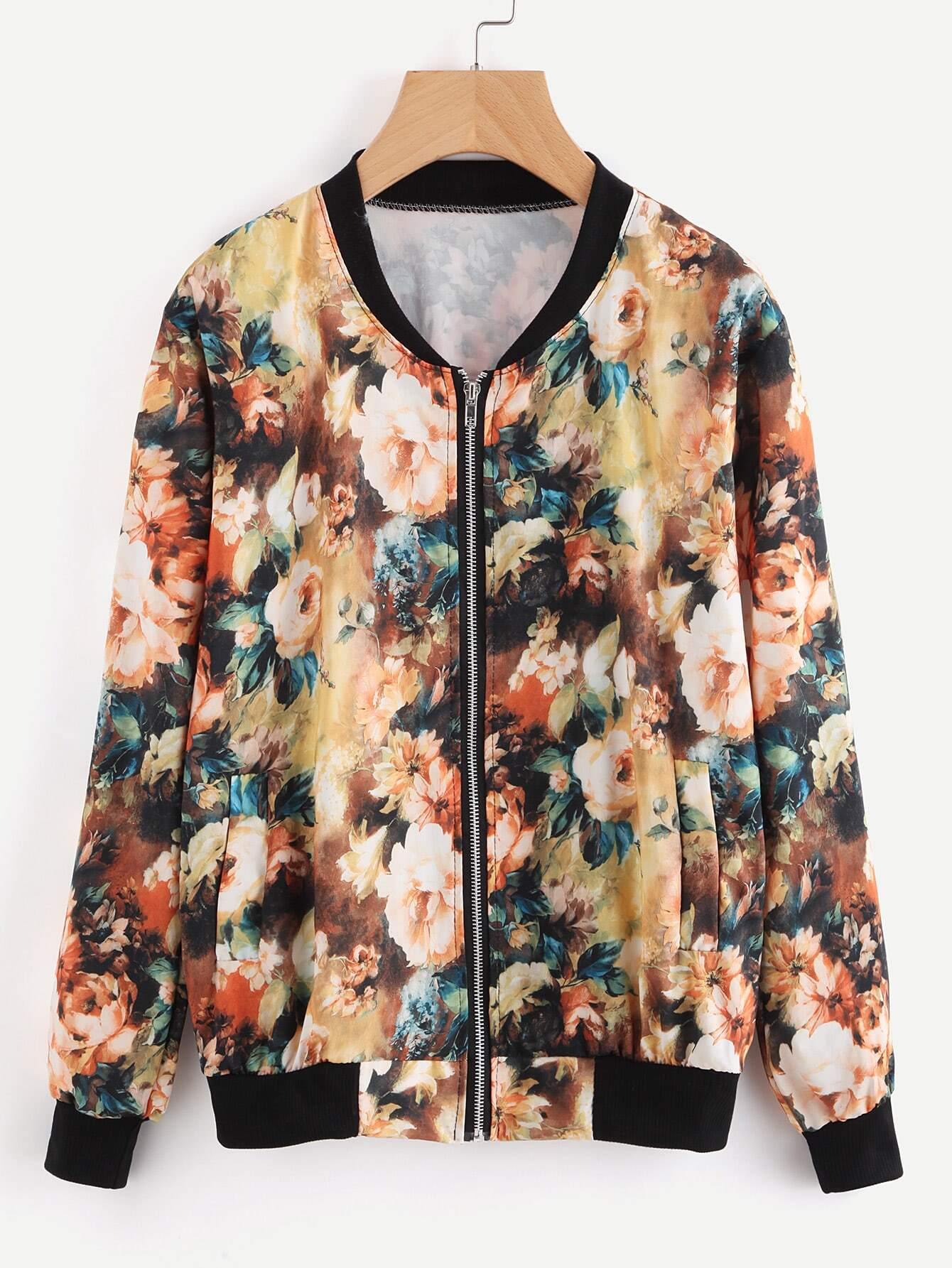 Contrast Ribbed Trim Allover Florals Jacket contrast ribbed trim jacket