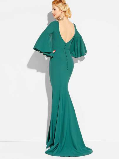 Bell Sleeve Single Breasted Open Back Mermaid Dress