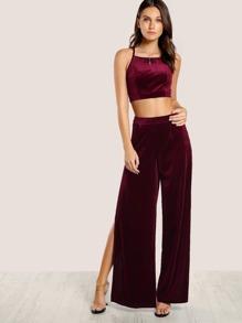 Velvet Back Tie Spaghetti Crop & Matching Pants BURGUNDY