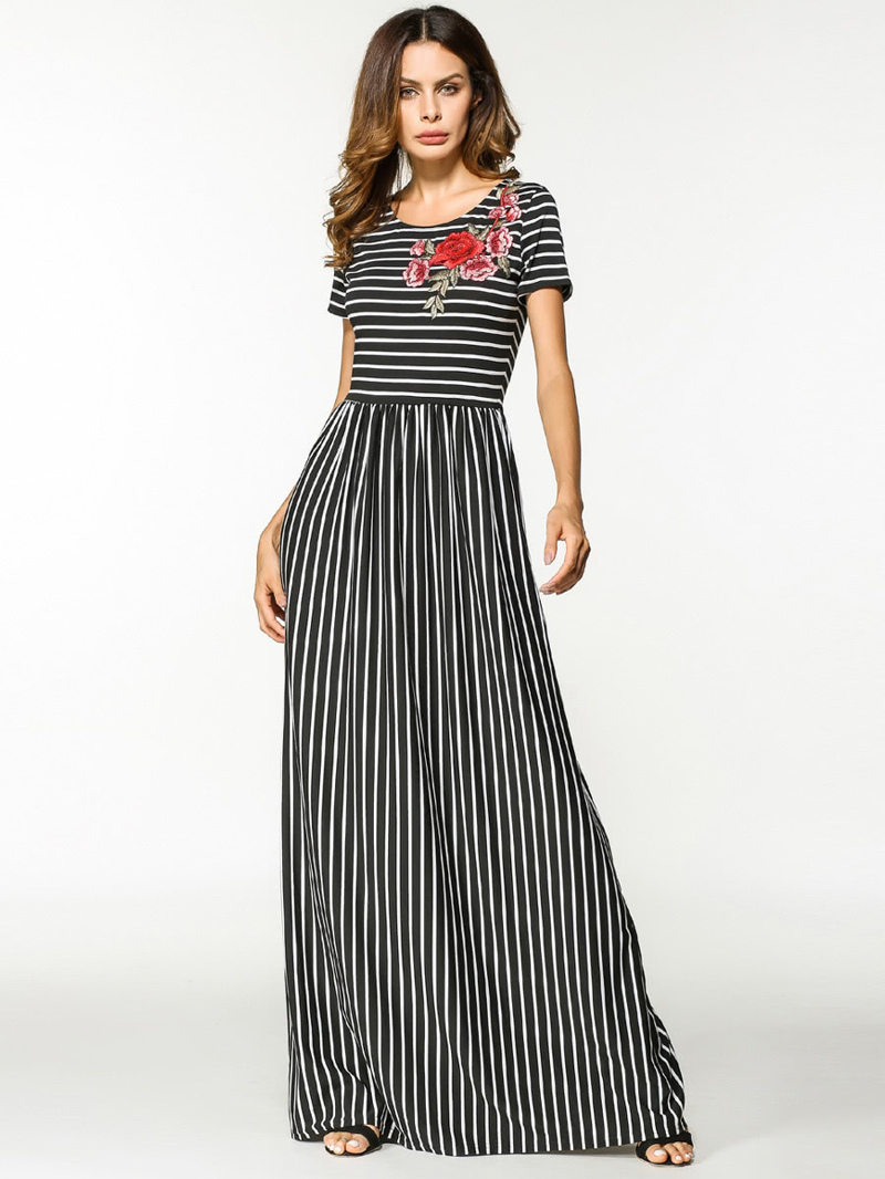 Flower Appliques Stripe Dress, Black and white