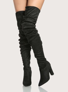 Slouchy Point Toe Thigh High Boots BLACK