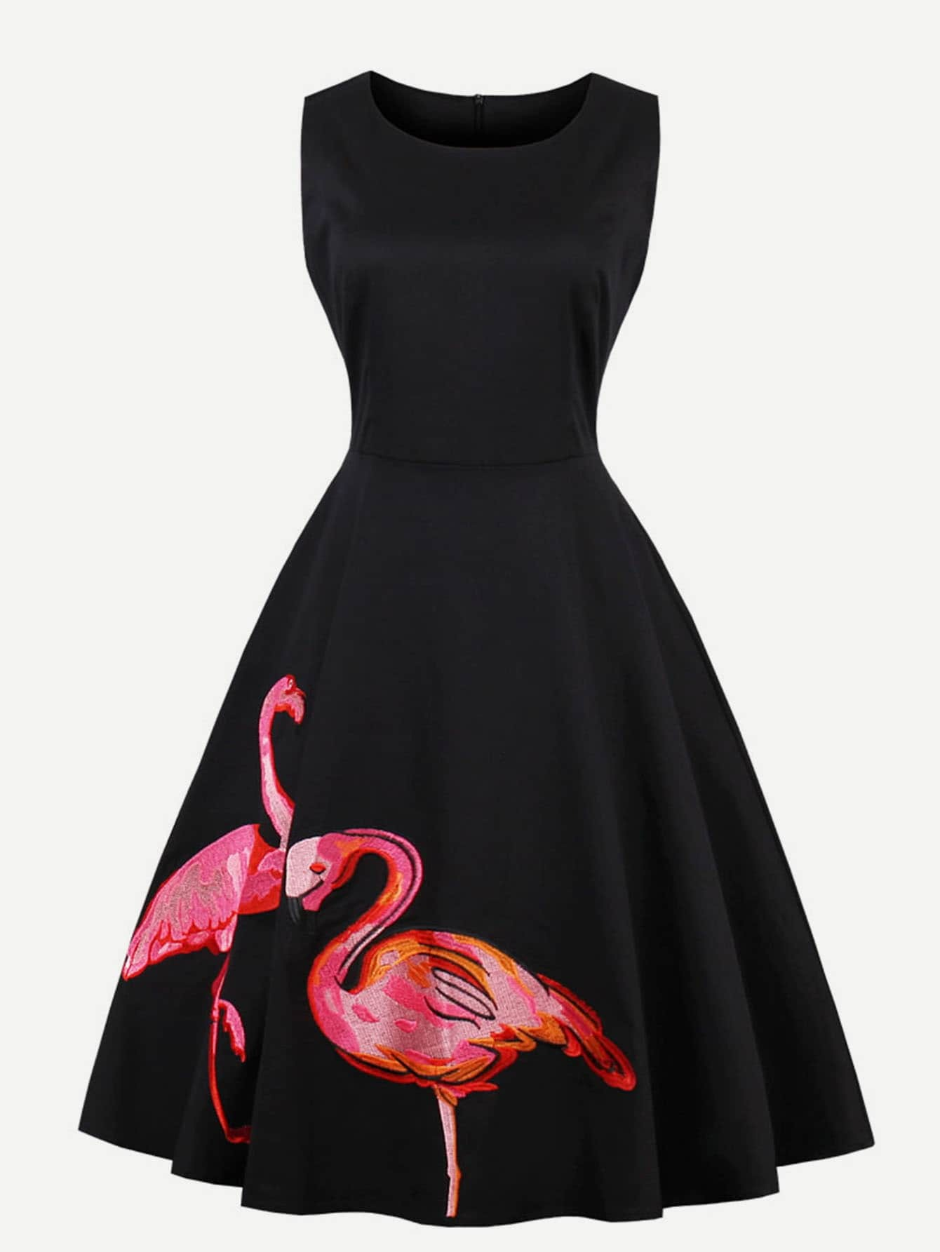 Flamingo Embroidered Swing Dress long sleeve embroidered swing dress