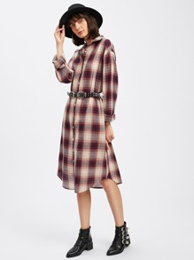 Dolphin Hem Check Shirt Dress