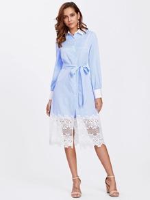 Contrast Trim Lace Hem Pinstripe Shirt Dress
