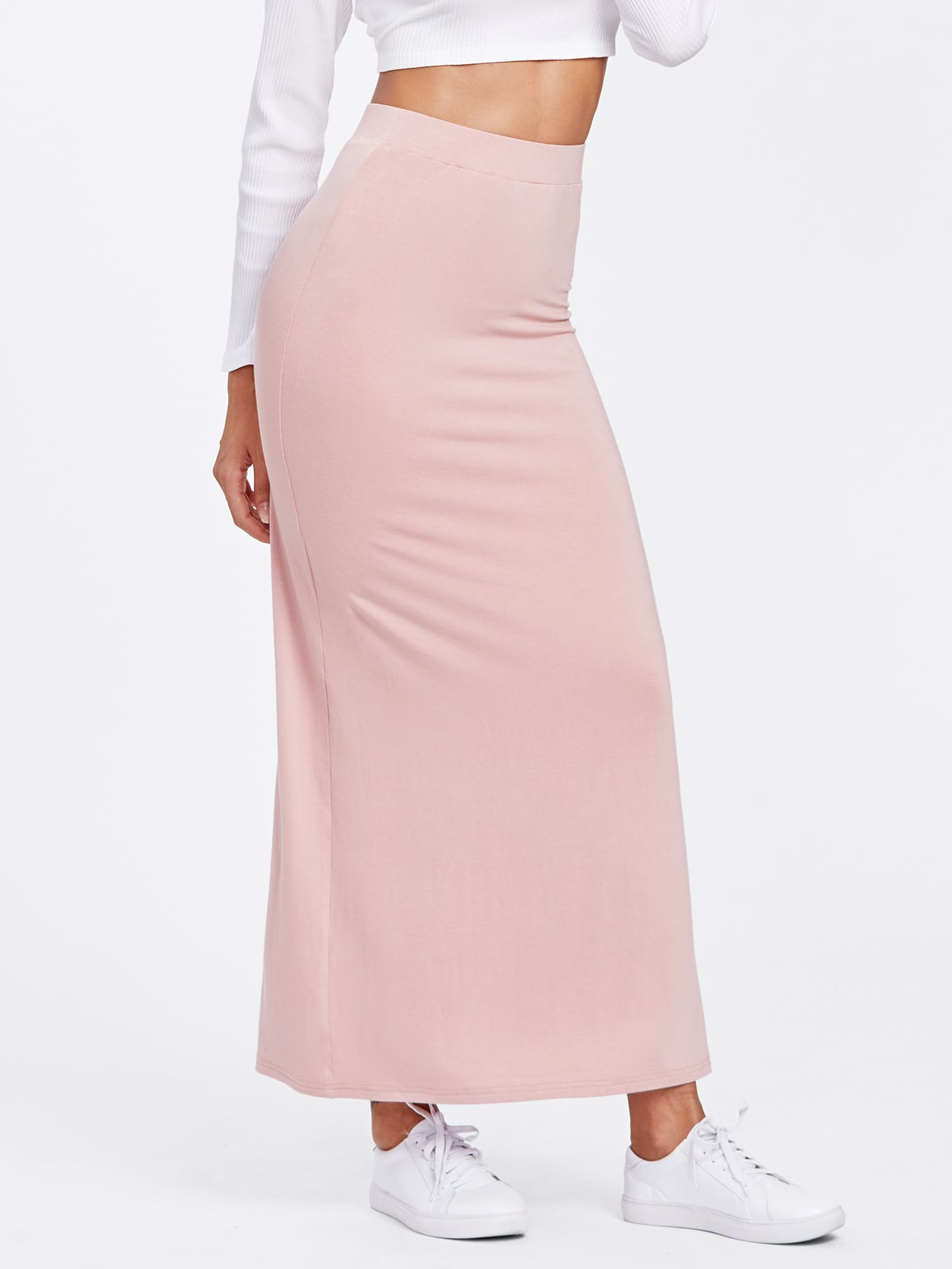 Elastic Waist Longline Jersey Skirt heather grey elastic waist jersey pencil skirt