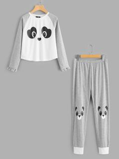 Panda Print Frilled Tee & Sweatpants Pajama Set
