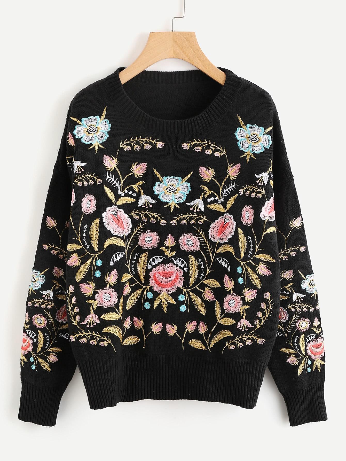 Symmetric Botanical Embroidered Jumper