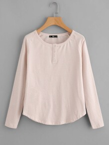 Buttoned Front Raglan Sleeve Striped Tee