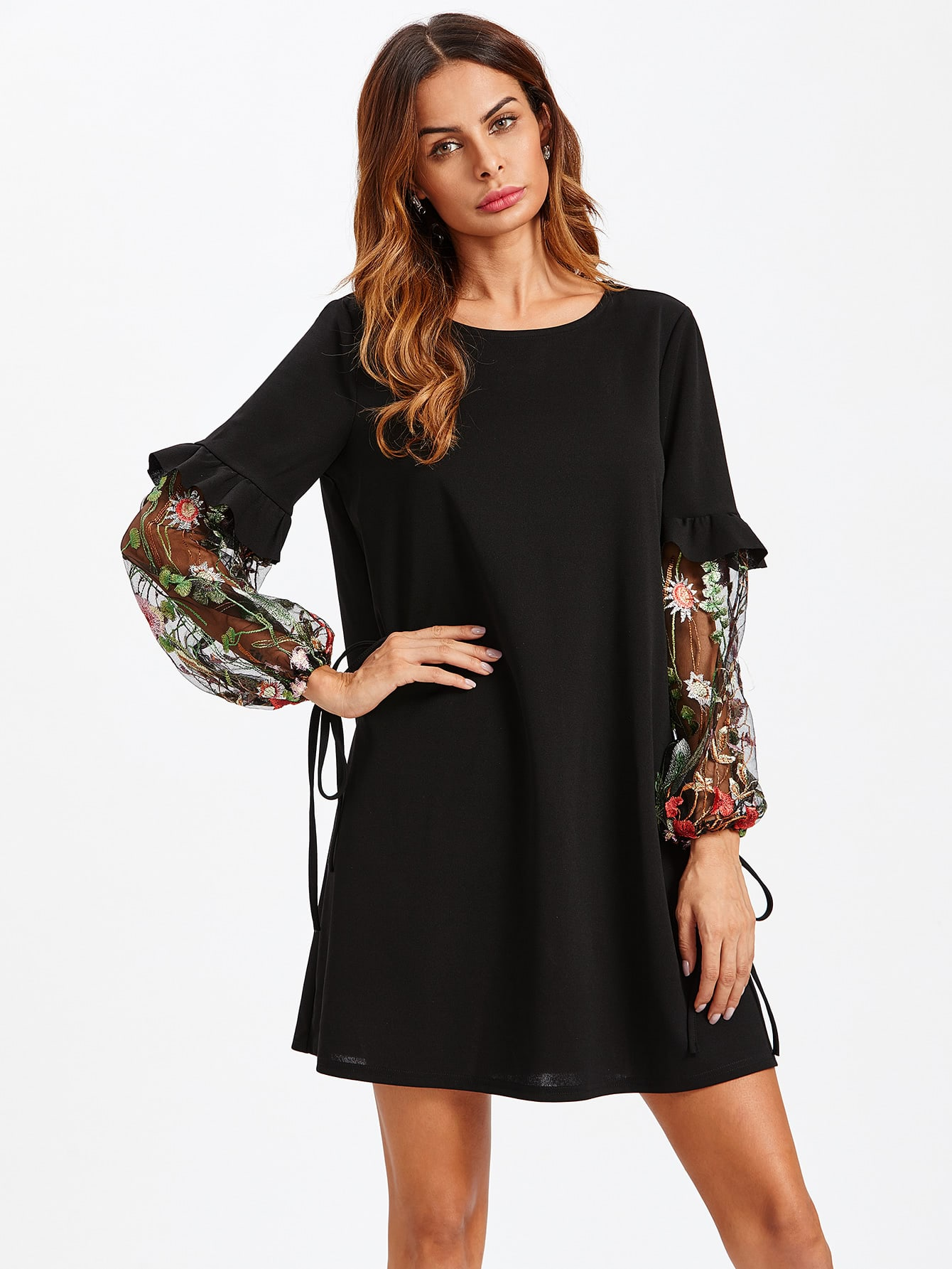 Contrast Embroidery Mesh Tied Sleeve Frill Detail Dress frill detail crochet insert embroidered mesh top