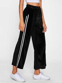Stripe Side Velvet Wide Pants