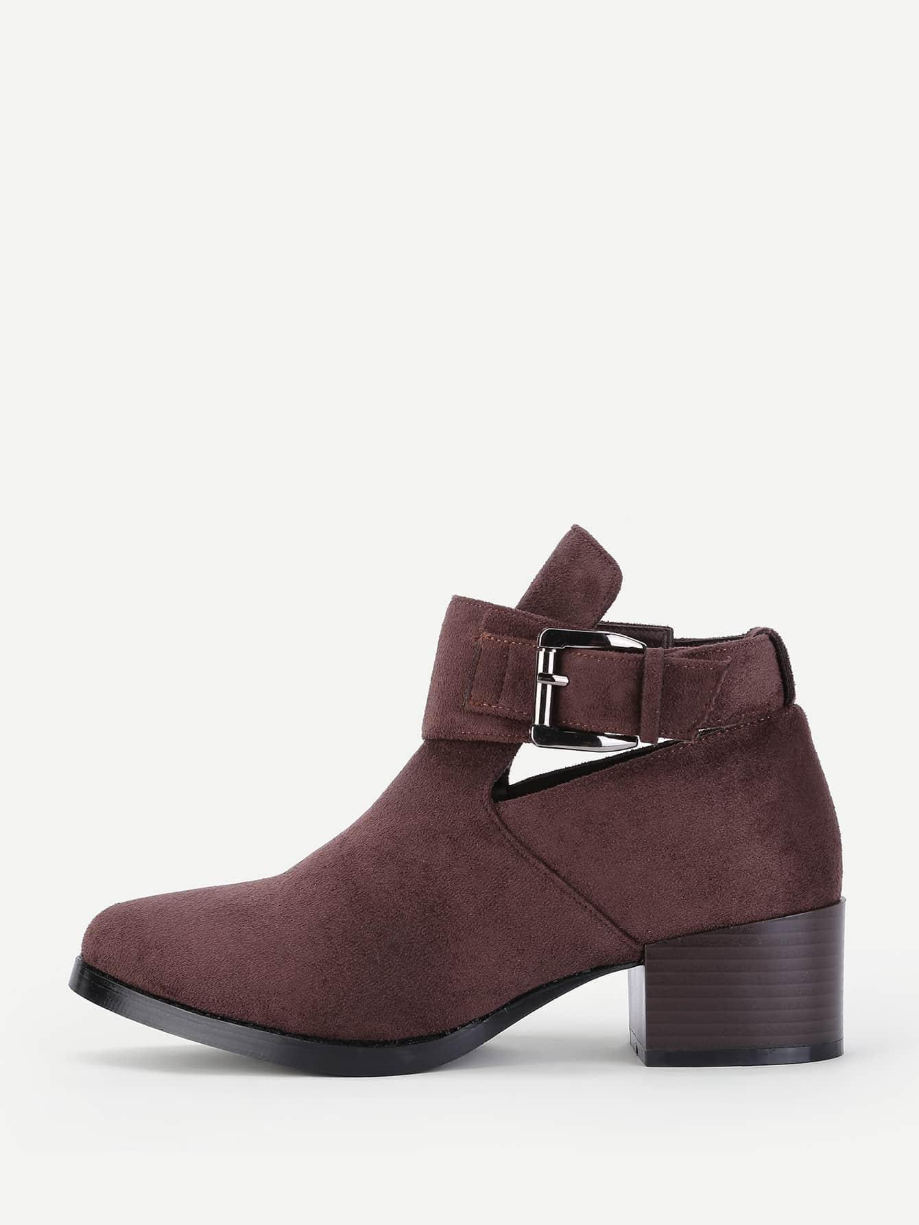 все цены на Buckle Detail Block Heeled Boots