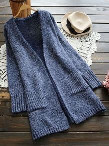 Ribbed Patch Pocket Marled Knit Longline Cardigan