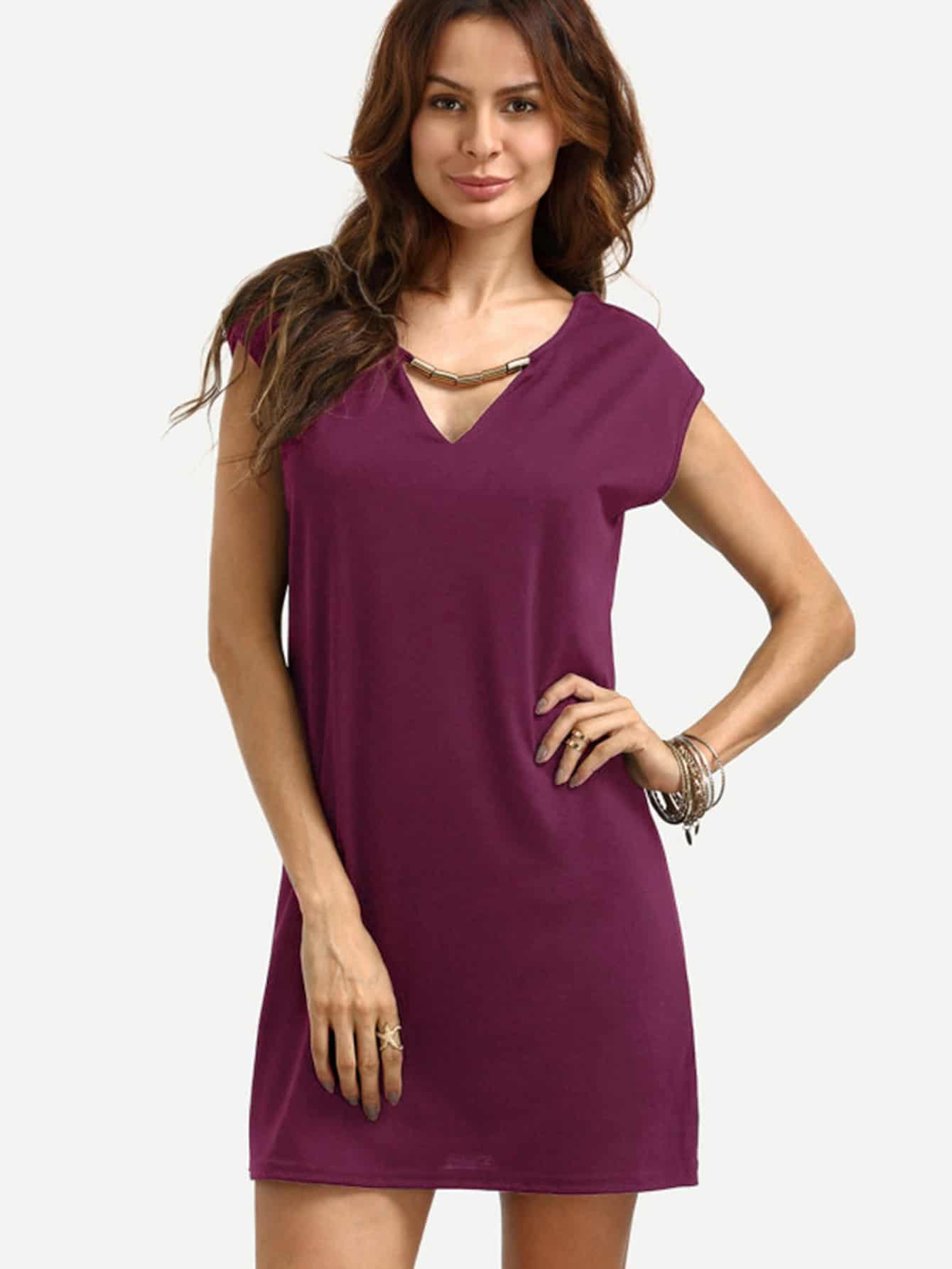 V Cut Cap Sleeve Dress With Metal Bar Detail v notch pearl leaf chain detail fluted sleeve dress