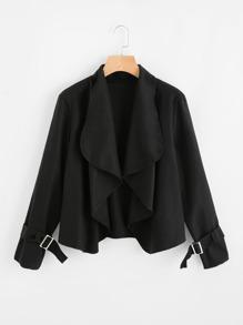 Drape Collar Belted Cuff Blazer