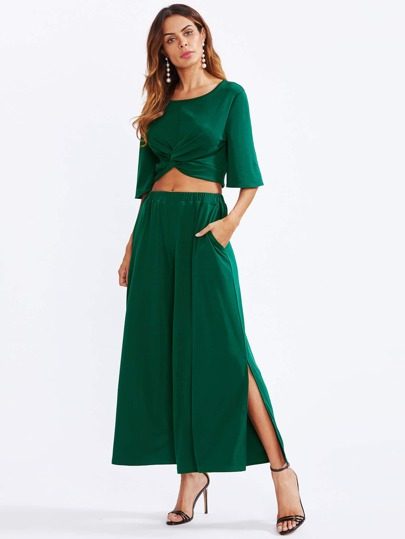 Twist Front Crop Top With Slit Palazzo Pants Set