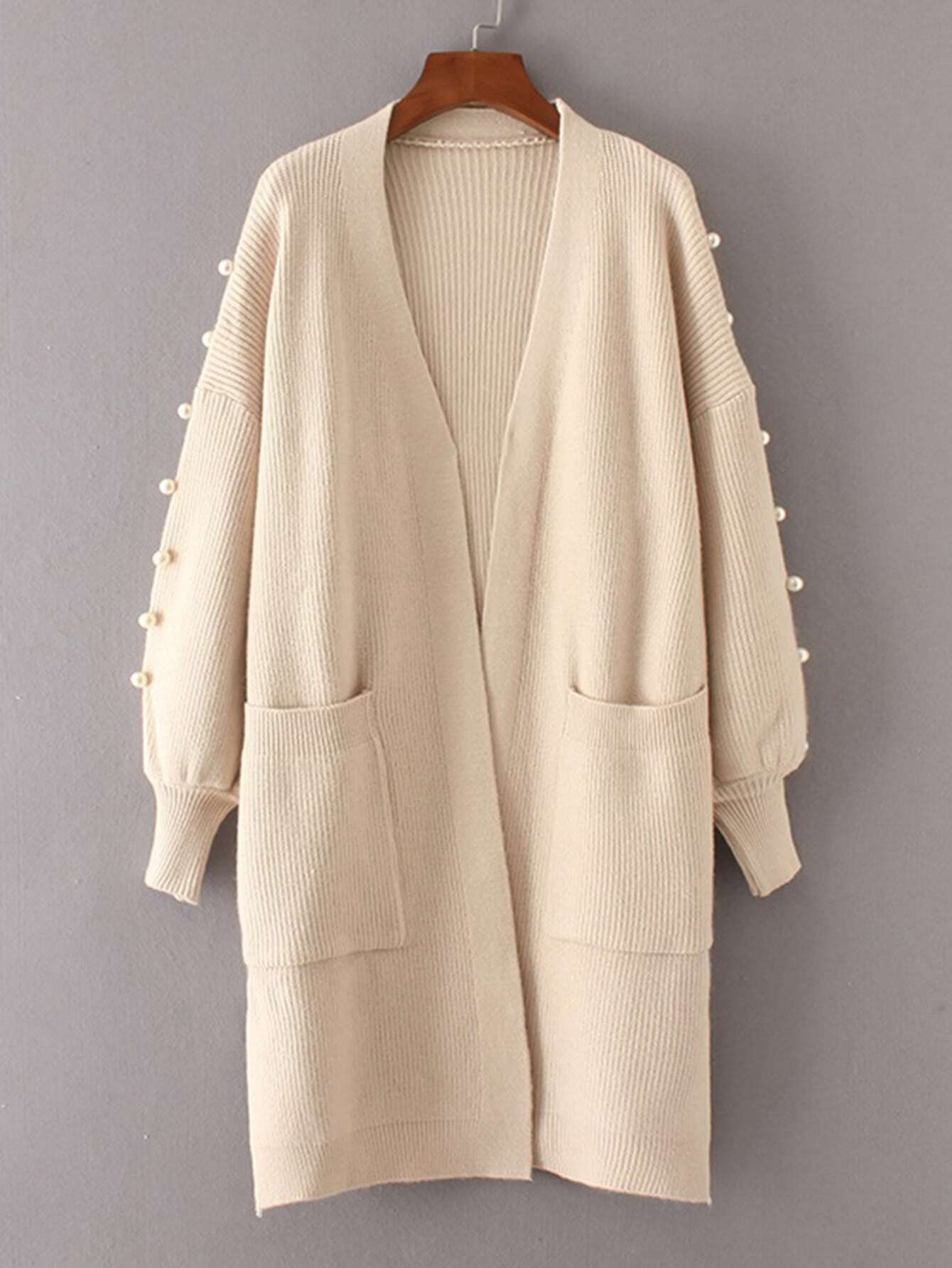 Faux Pearl Detail Ribbed Knit Longline Cardigan sweater170913203