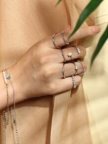 Multi Shaped Rings & Link Bracelets Set