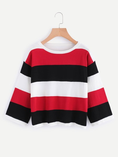 Contrast Wide Striped T-shirt