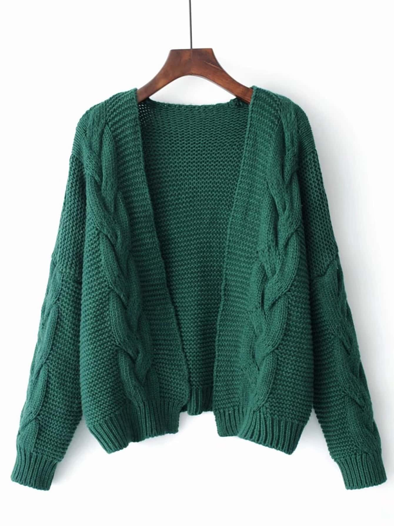 Cable Knit Open Front Cardigan -SheIn(Sheinside)