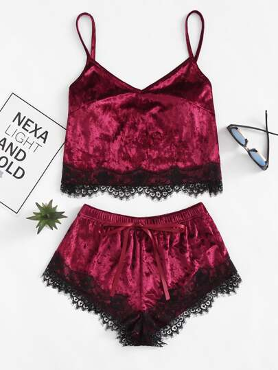Eyelash Lace Hem Cami Top & Shorts Pajama Set