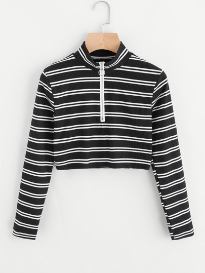 Striped Zip up Crop T-shirt