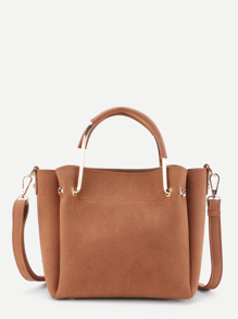 Suede Shoulder Bag With Inner Pouch
