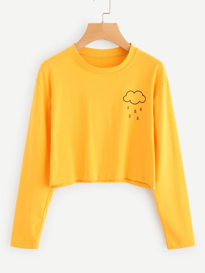 Rainy Print Crop T-shirt