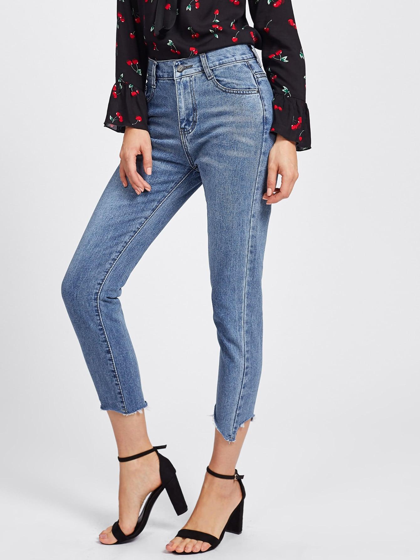 Asymmetric Raw Hem Capri Jeans