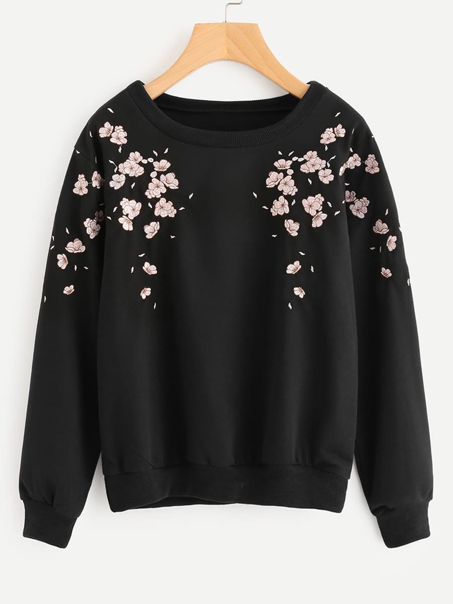 Flower Petal Embroidered Sweatshirt creativesugar sweet 3d flower petal