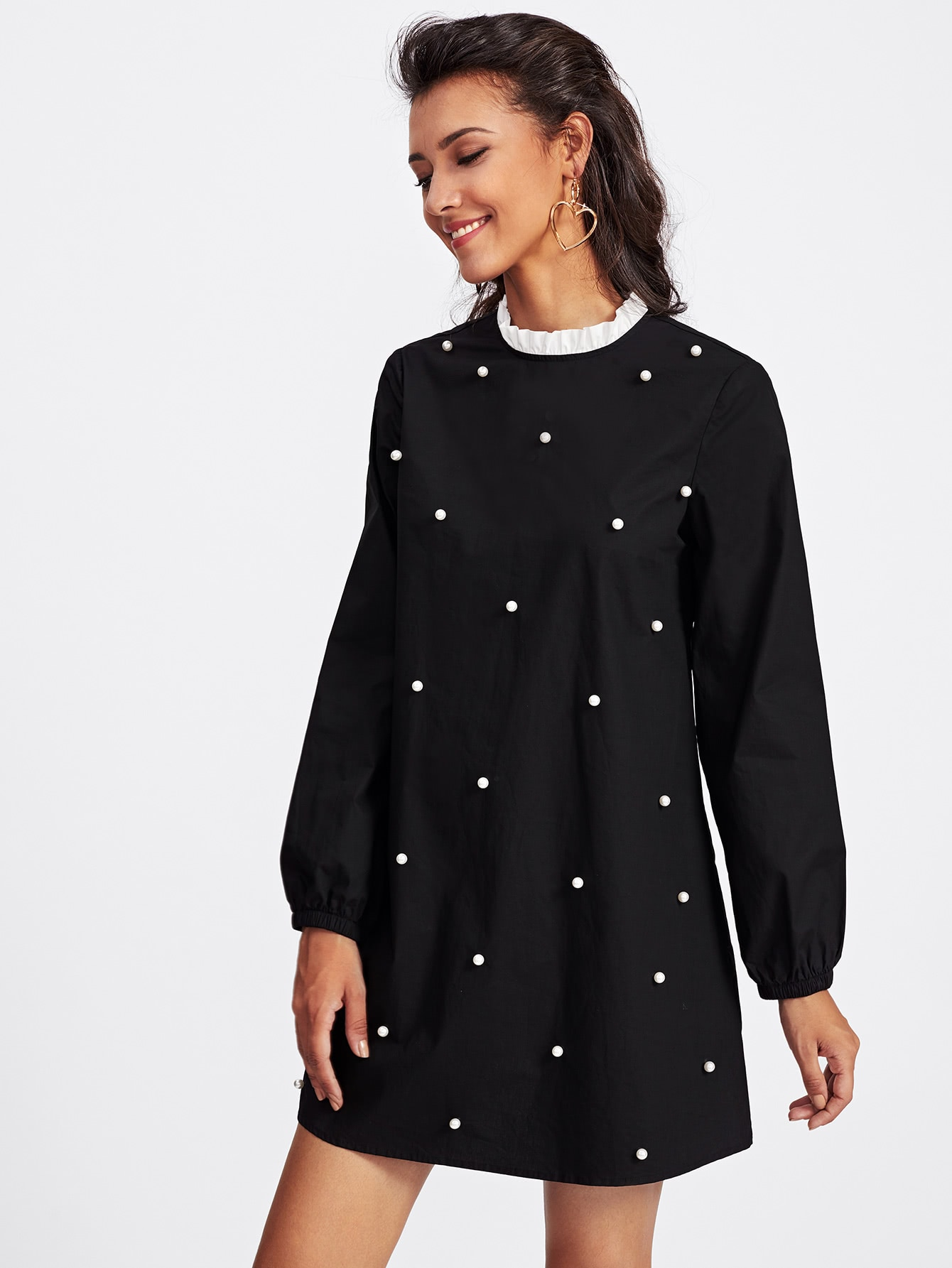 Contrast Frill Neck Pearl Embellished Dress frill layered pearl detail sweatshirt dress
