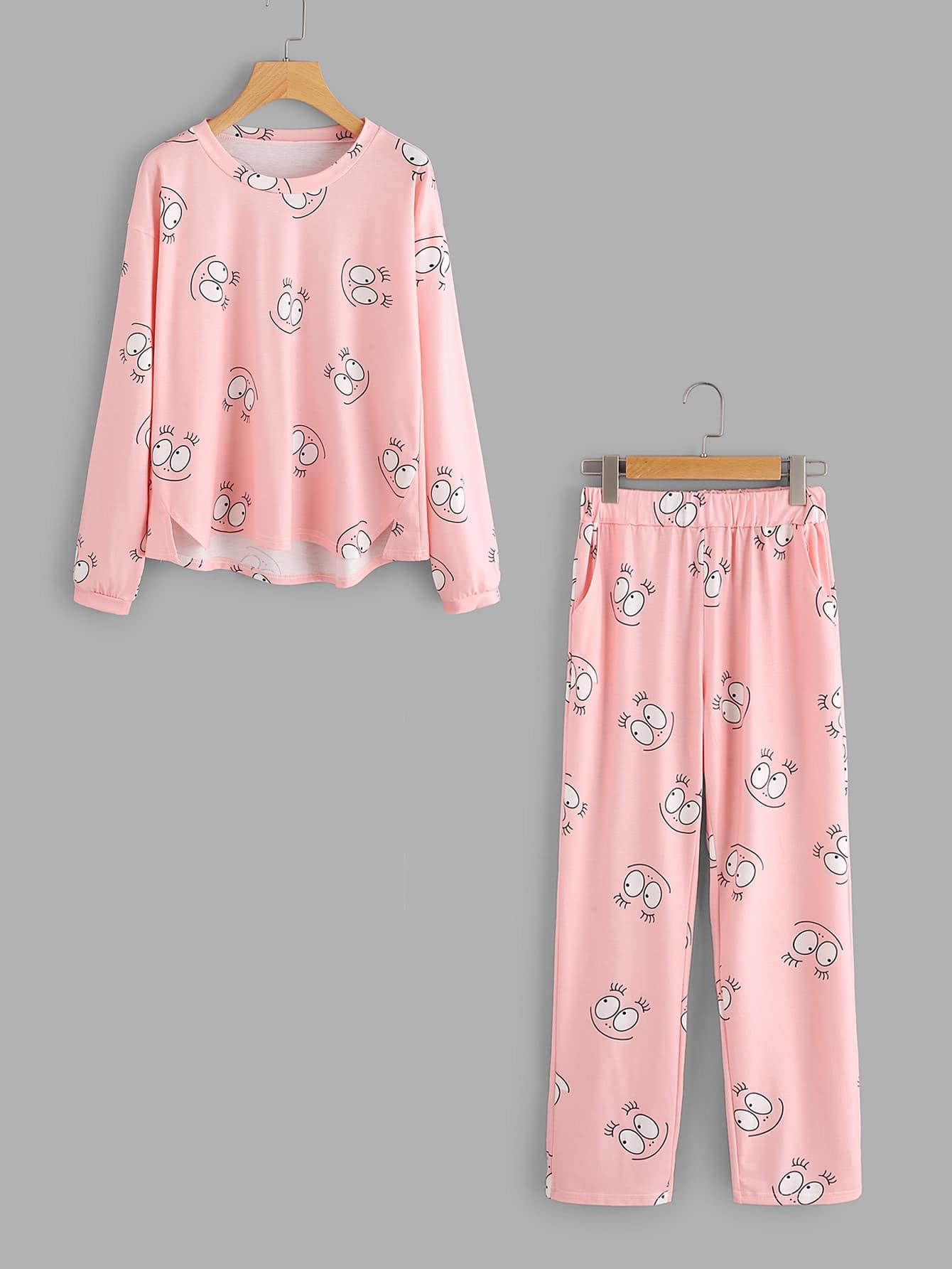 Eye Print Dip Hem Top And Pants Pajama Set flamingo and jungle leaf print top and pants pajama set