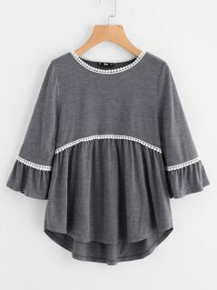 Dot Crochet Trim Curved Dip Hem Top