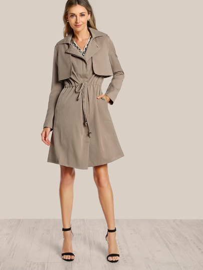 Shirred Waist Trench Coat TAN