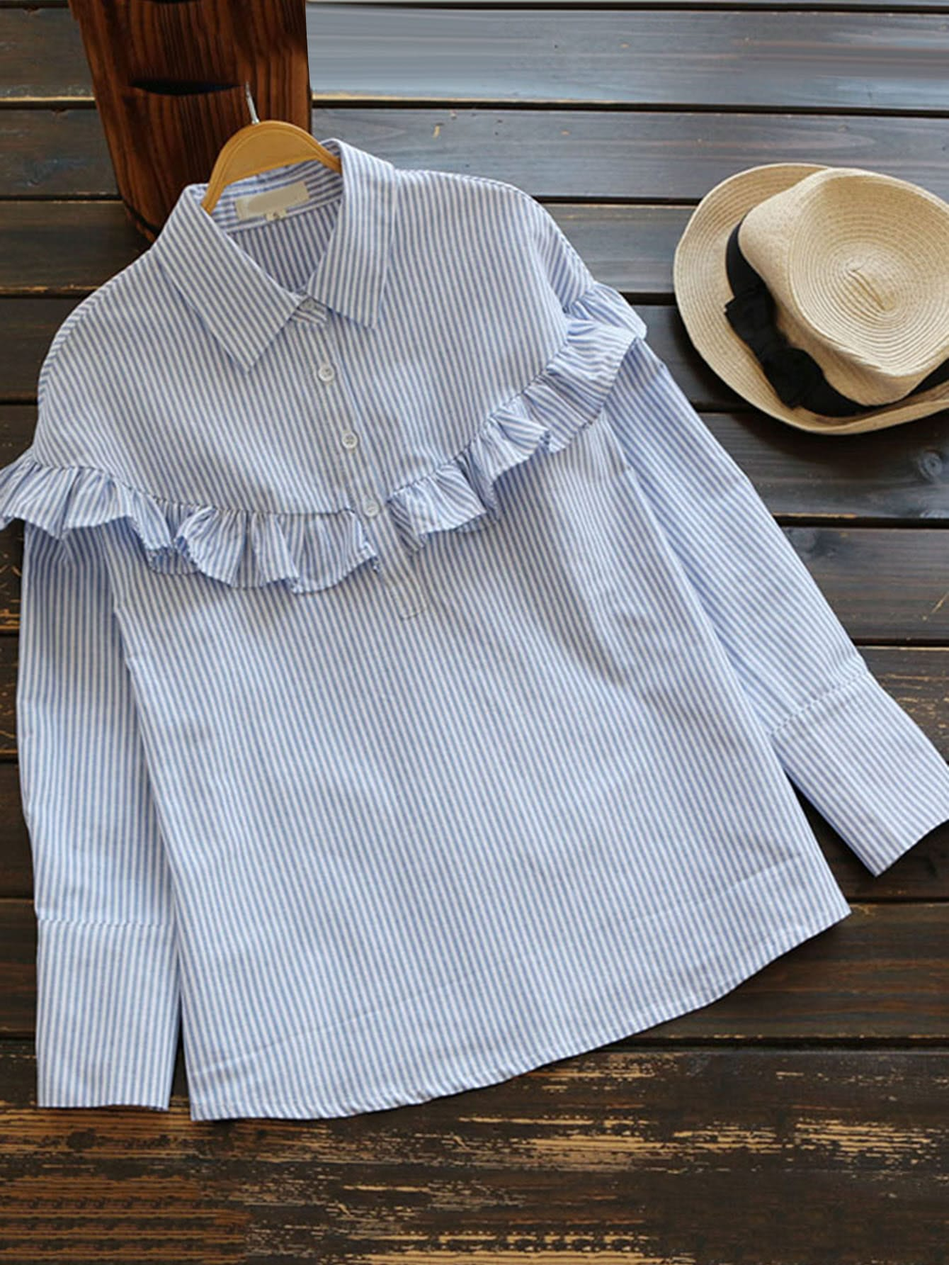 Half Placket Frill Trim Pinstripe Blouse twist front half placket drop shoulder blouse