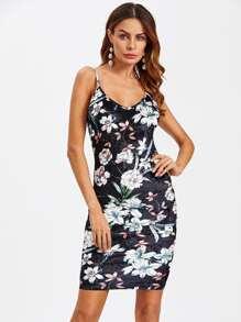 Floral Crushed Velvet Backless Cami Dress